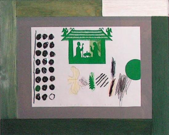 """1a.  Yolanta Nikt, """"Ze stajenką"""" , 2015, kolaż, na papierze, /z wycinanką Czesławy Marchewki /, wymiary 35x50 cm, / WYMIARY OBRAZÓW SĄ BEZ RAM"""