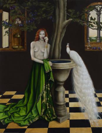 """Justyna Giza, """"Biały paw"""" – z cyklu """"Kobiety z wizerunkami białych ptaków"""", 2015-2016, olej na desce, wymiary 110x85 cm, / / NIEDOSTĘPNY"""