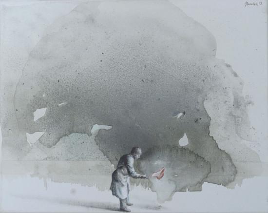 """Łukasz Huculak """"Extraction"""", 2013, akryl na płótnie, wymiary 40x50 cm"""