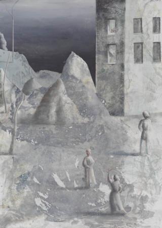 """Łukasz Huculak """"Gra"""", 2011, tempera na kartonie, wymiary 70x50 cm"""