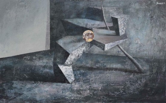 """Łukasz Huculak,  """"Struktura, 2014, tempera na papierze, wymiary 42x62 cm"""