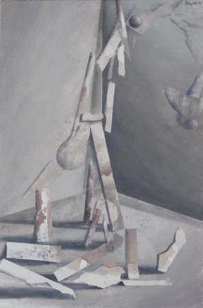 """Łukasz Huculak,  """"Pion"""", 2014, tempera na desce, wymiary 60x40 cm"""