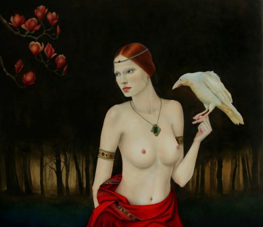"""Justyna Giza """"Biały kruk""""– z cyklu """"Kobiety z wizerunkami białych ptaków"""", 2012-2013, olej na desce, wymiary 45x50 cm,  / NIEDOSTĘPNY"""