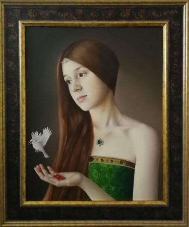 """Justyna Giza, """"Ola"""" – z cyklu """"Kobiety z wizerunkami białych ptaków"""", 2016-2017, olej na desce, wymiary 50×40 cm  / NIEDOSTĘPNY"""