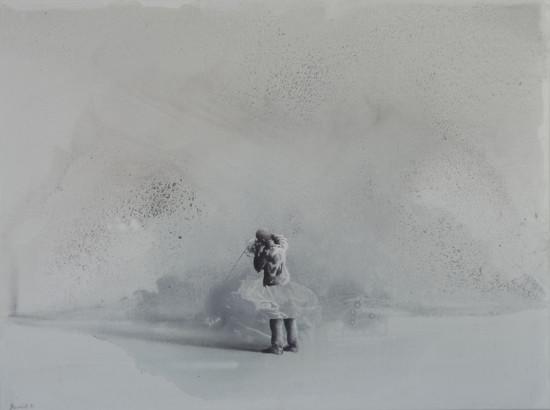 "Łukasz Huculak,  ""Sonda"",  2014, tempera na płótnie, wymiary 60x80 cm"