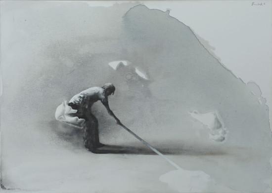 """Łukasz Huculak,  """"Wyciek 2"""", 2014, tempera na płótnie, wymiary 50x70 cm"""