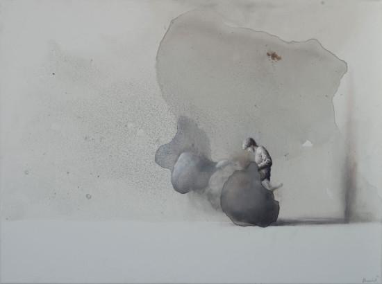 """Łukasz Huculak """"Combustion"""", 2014, tempera na płótnie, wymiary 60x80 cm"""