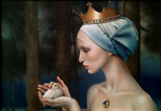 """Justyna Giza, """"Biały ptaszek"""" – z cyklu """"Kobiety z wizerunkami białych ptaków"""", 2016, olej na desce, wymiary 32x45 cm, z ramą 61x48 cm"""