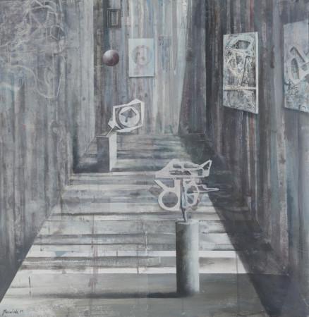 """Łukasz Huculak """"R"""", 2011, tempera na kartonie, wymiary 70x69 cm"""