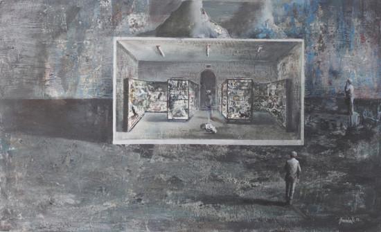 """Łukasz Huculak """"Kolekcjoner"""", 2012, tempera na kartonie, wymiary 43x70 cm"""