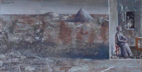 """Łukasz Huculak """"Bez tytułu"""", 2012, tempera na kartonie, wymiary 22x44 cm"""