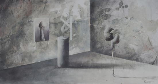 """Łukasz Huculak """"Las"""", 2013, tempera na papierze, wymiary 28x52 cm"""