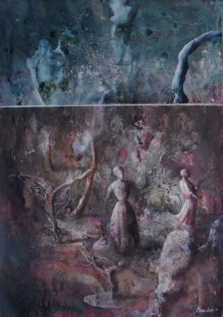 """Łukasz Huculak """"Kosmos"""", 2012, tempera na kartonie, wymiary 59,5x42 cm"""
