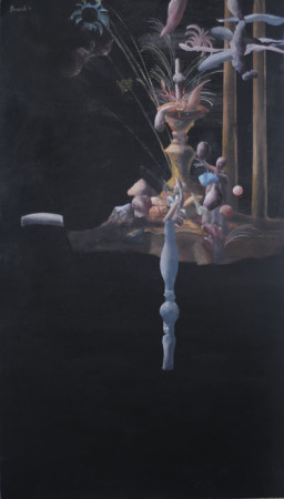 """Łukasz Huculak """"Azja"""", 2012, tempera na kartonie, wymiary 70x40 cm"""