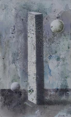 """Łukasz Huculak """"Bez tytułu"""", 2010, tempera na kartonie, wymiary 31x19 cm"""