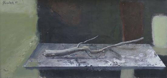 """Łukasz Huculak """"Bez tytułu"""", 2009, tempera na kartonie, wymiary 19x40 cm"""