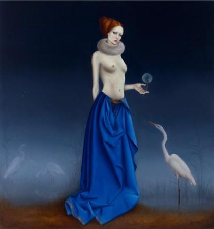 """Justyna Giza """"Czaple""""– z cyklu """"Kobiety z wizerunkami białych ptaków"""", 2013/2014, olej na desce, wymiary 70x66 cm, / NIEDOSTĘPNY"""
