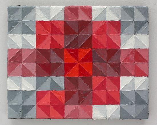 """Krzysztof Wróblewski, """"Kontrast jakościowy wg Ittena – czerwony"""", 2015, olej na płótnie, 24x30 cm"""