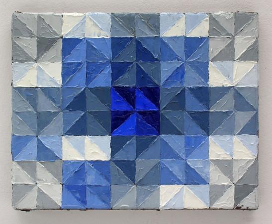 """Krzysztof Wróblewski, """"Kontrast jakościowy wg Ittena – niebieski"""", 2015, olej na płótnie, 24x30 cm"""