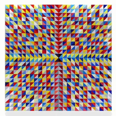 """Krzysztof Wróblewski, """"Klepsydra"""", cykl """"No QR Kod"""", 2016, olej na płótnie, wymiary 180x180 cm"""