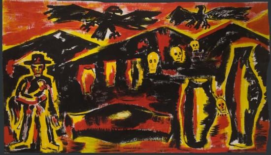 """Zdzisław Nitka """"Pejzaż znaczeń"""", 2008, akryl na płótnie, wymiary 205x350 cm"""