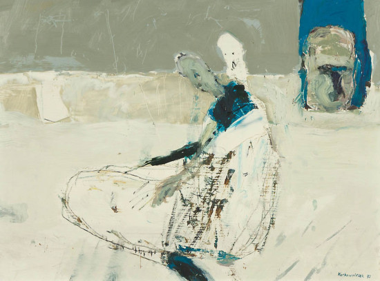 """Janusz Karbowniczek, """"Wypoczynek"""", 1997, olej na płótnie, wymiary 30x40 cm"""
