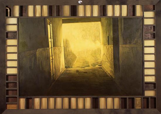 """2 Jacek Rykała """"Mgła"""" 2002/2003r. ol./pł./collage, wymiary 160 x 220 cm"""
