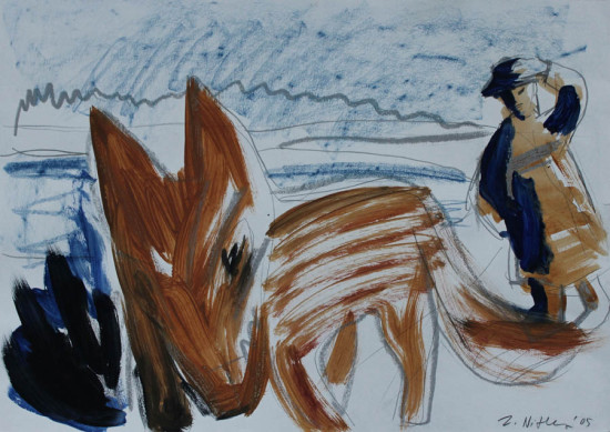 """Zdzisław Nitka, """"Spacer z psem"""", 2005, akryl, pastel na papierze, wymiary 50×70 cm, na motywach tej  pracy powstał słynny obraz o tym samym tytule reprodukowany w dwóch najważniejszych wydawnictwach  omawiających twórczość Zdzisława Nitki"""