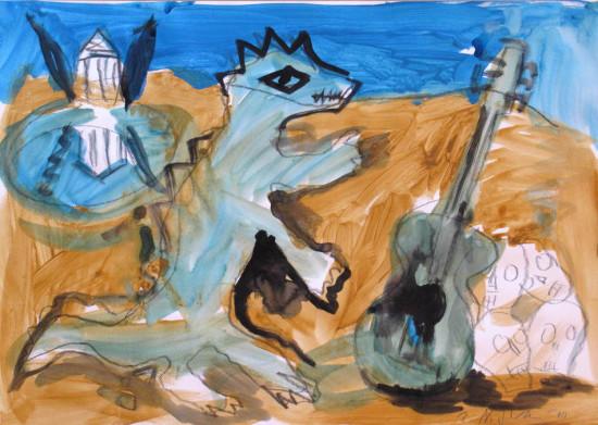 """Zdzisław Nitka """"Skomplikowany obraz grecki"""" 2010, tempera na papierze, wymiary 42x60 cm"""
