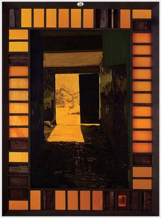 """9 Jacek Rykała """"Lśnienie"""" 1998r, olej na płótnie +collage wymiary 185x135 cm"""