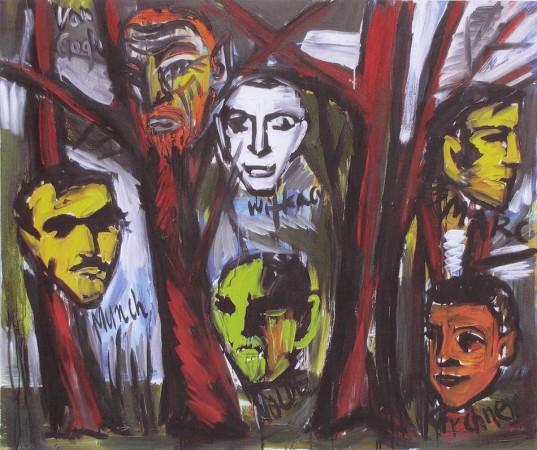 """Zdzisław Nitka """"Delikatni malarze"""", 2009r. olej na płótnie, wymiary 110x130 cm, / NIEDOSTĘPNY"""