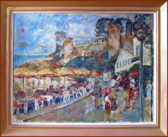 """Teresa Wallis-Joniak, """"Kawiarnia w Tossa de Mar"""", 2007, olej na płótnie, wymiary 66x76 cm"""