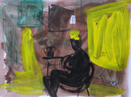 """Zdzisław Nitka, """"Munch w Ekely"""", 2015, tempera na papierze, wymiary 70x50 cm"""