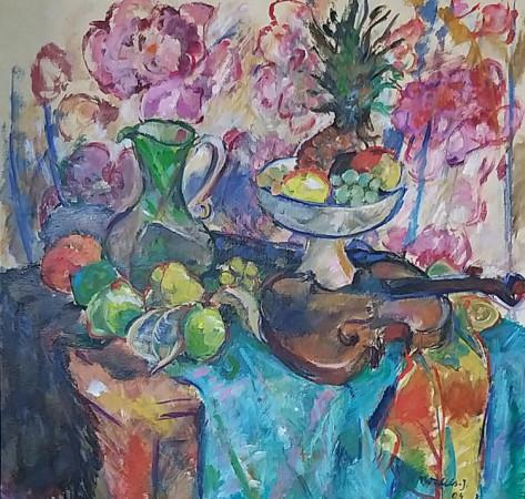 """Teresa Wallis-Joniak, """"Martwa natura ze skrzypcami"""", 2004, olej na płótnie, wymiary 62x65 cm, Obraz jest reprodukowanyw Katalogu,""""Wallis-Joniak, malarstwo 1995-2008"""",z wystawy w Pałacu Sztuki, Kraków, 2008"""