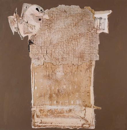 """Wojciech Kopczyński - """"Bez tytułu"""" 2006, technika własna, kolaż na płótnie, wymiary 60x60 cm, / KOLEKCJA GALERII"""