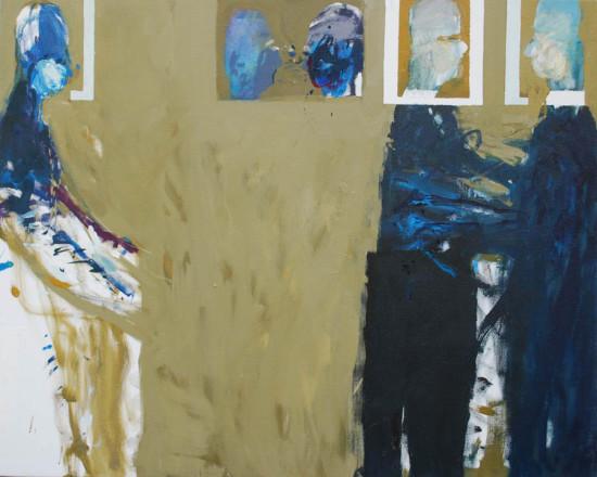 """Janusz Karbowniczek, """"Przepychanka"""", 2006, olej na płótnie, 65x80 cm"""
