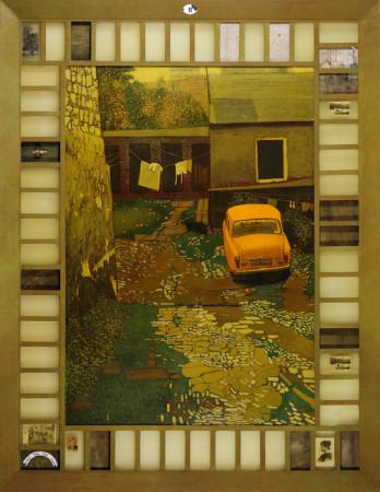 """3 Jacek Rykała """"Idzie mgła"""" 2009r. ol/pł.+collage wymiary 205x158 cm"""