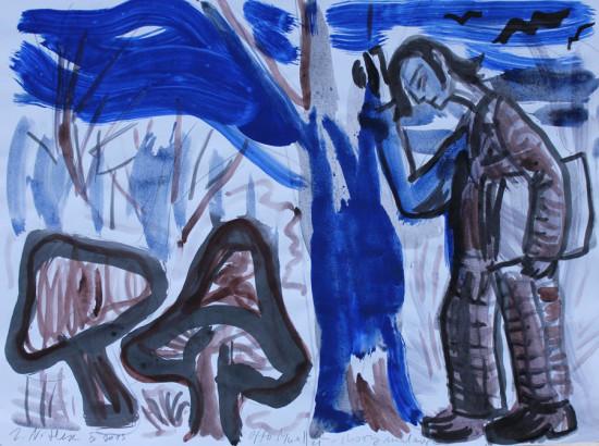 """Zdzisław Nitka, """"Otto Mueller – chory malarz"""", 2013, akryl na papierze, wymiary 60×80 cm"""