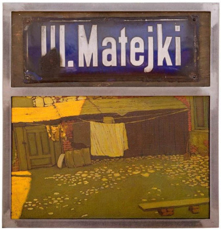 """6 Jacek Rykała """"ul.Matejki"""", olej na płótnie + collage, wymiary 52x49 cm"""