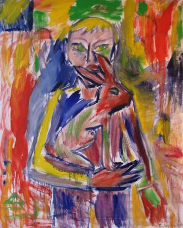 """Zdzisław Nitka """"Chłopiec z zającem"""", 2011, olej na płótnie, wymiary 137x110 cm"""