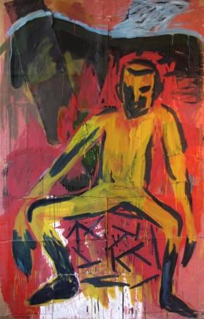 """Zdzisław Nitka """"Chłopiec w górach"""", 1991, olej na kartonie, wymiary 212x135 cm"""
