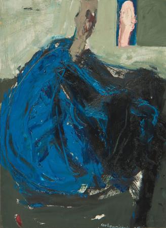"""4 Janusz Karbowniczek, """"Po wysiłku"""", 2005, olej na płótnie, wymiary 33x24 cm"""