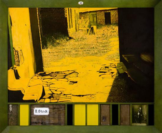 """4 Jacek Rykała """"Mundek"""" 2008r. ol/pl.+collage, wymiary 151,5x185 cm"""