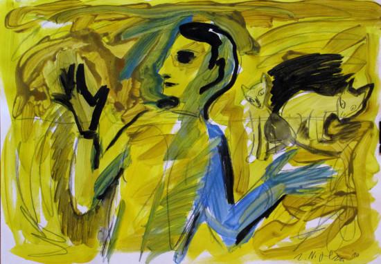 """Zdzisław Nitka """"Chłopiec i koty"""", 2010, tempera na papierze, wymiary 42x60 cm"""