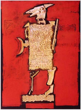 """Wojciech Kopczyński - """"Koza"""" 2004, technika własna, kolaż na płótnie,  wymiary 55x40 cm, / NIEDOSTĘNY"""
