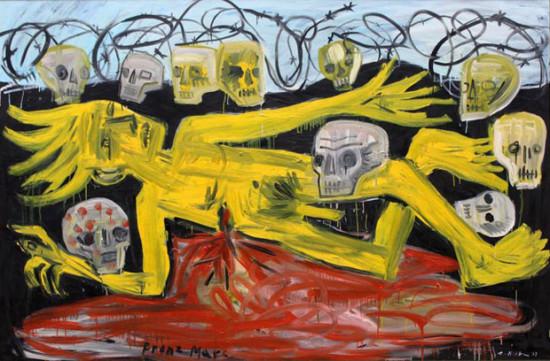 """Zdzisław Nitka, """"Franz Marc """", 2013, olej na płótnie, wymiary 138×209 cm, / SPRZEDANY"""