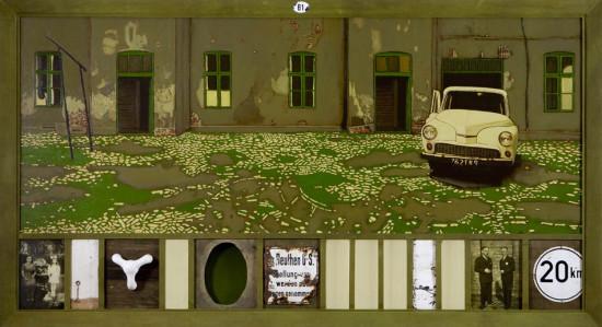 """9 Jacek Rykała """"Emalia i dyferencjał"""" 2009r. ol/pł.+collage wymiary 116,5x211,5 cm"""