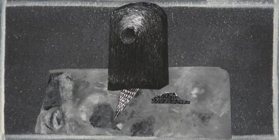 """Wojciech Kopczyński """"Bez tytułu"""", 2009/2010, akryl, kolaż na płótnie, wymiary 30x60 cm, / NIEDOSTĘPNY"""