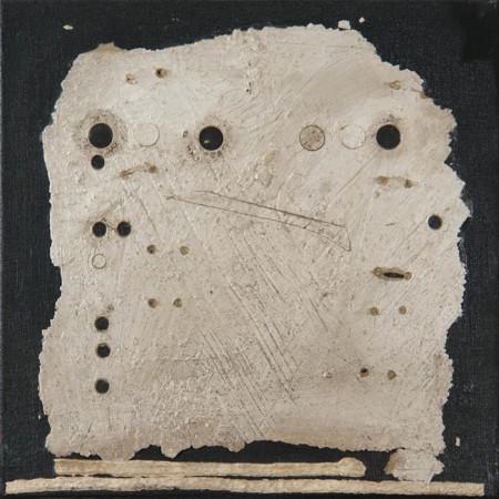 """Wojciech Kopczyński """"Bez tytułu"""", 1999, technika własna, kolaż, collage na płótnie, wymiary 38x38 cm, / NIEDOSTĘPNY"""