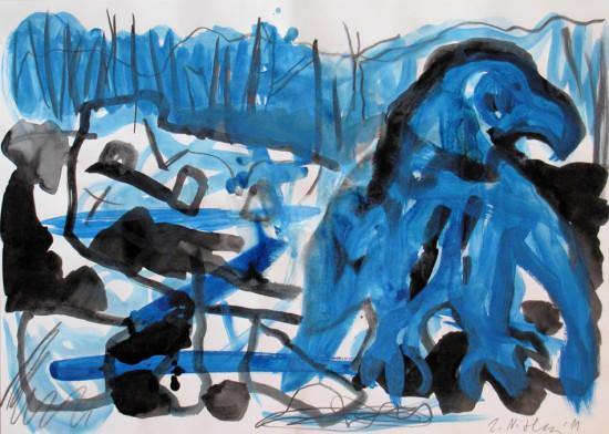 """Zdzisław Nitka """"Orzeł - katastrofa"""" 2011, tempera na papierze, wymiary 50x70 cm"""